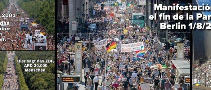 """Manifestación en Alemania por el fin de la Plandemia. Cientos de miles salen a la calle en Berlín: """"Basta ya de Ingenieria Social"""""""
